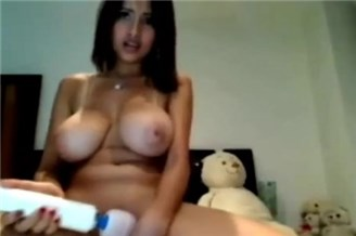 Busty latina teen plays with hitachi <!-- width=