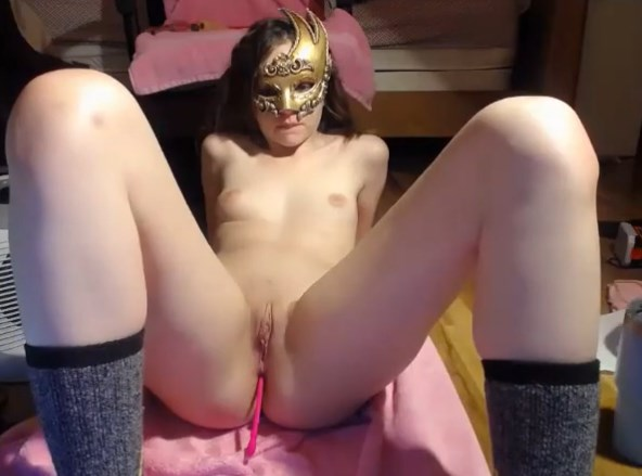 Young masked american girl anal dildoing <!-- width=