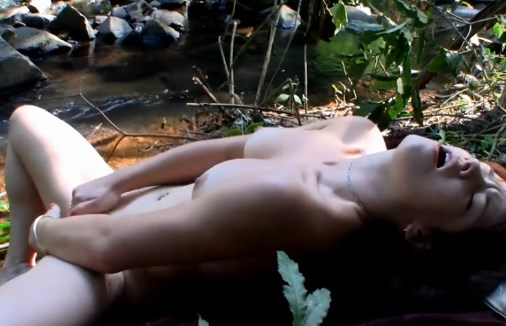Beautiful australian girl masturbation outdoors <!-- width=