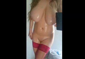 Busty wife selfshot naked oiled body