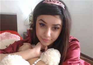 Cute princess masturbates with her toy