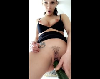 Hot standing masturbation with cucumber <!-- width=