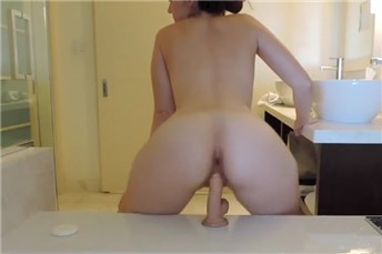 Sexy wife riding her mounted dildo  <!-- width=