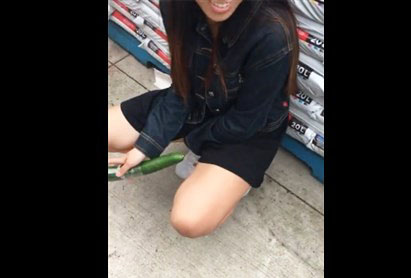 Horny asian masturbates with cucumber in the shop <!-- width=