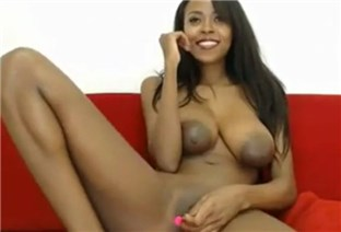 Busty ebony babe masturbates with lovense toy <!-- width=