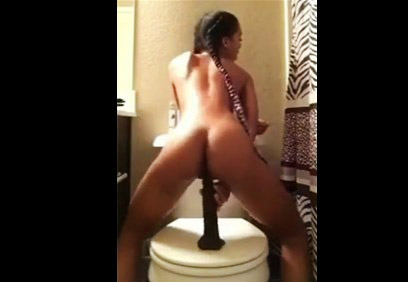 18yo ebony girl rides on dildo <!-- width=