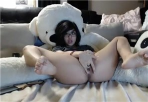 Babe fingering pussy with teddy bear <!-- width=