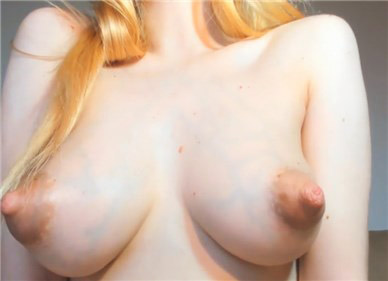 Blonde teases with puffy nipples <!-- width=