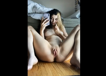 Skinny girl morning teasing near the mirror