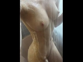 Girl selfshot sexy body under shower <!-- width=