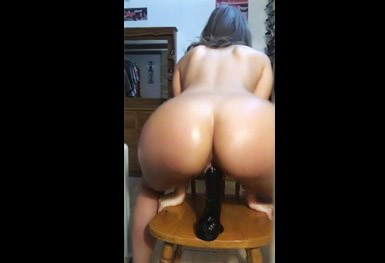 Dildo riding on chair <!-- width=