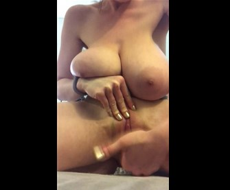 Very busty girl closeup fingering and rubbing pussy