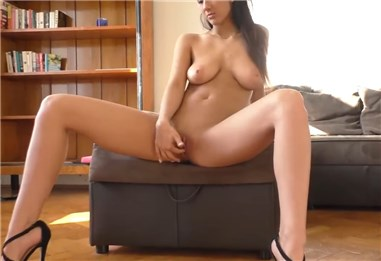 18yo German girl only in high heels plays with pussy <!-- width=