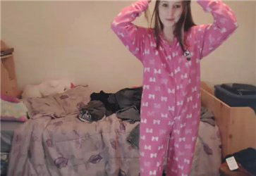 Cute girl undress pajama