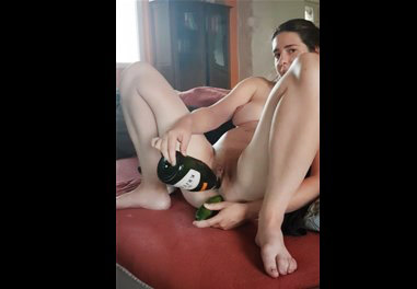 French wife masturbates with cucumber and wine bottle <!-- width=