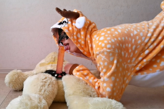 Horny teen with lovense toy and happy teddy bear <!-- width=