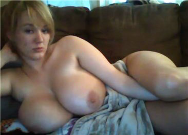 Blonde with huge natural tits <!-- width=
