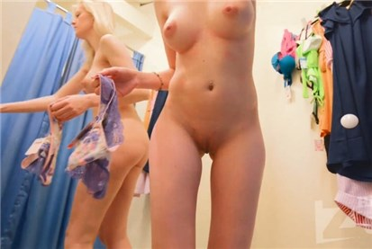 Blonde girl in changing room