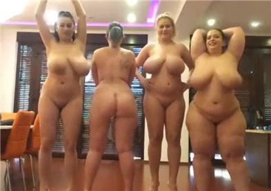 Four naked chubby girls with lovense toys