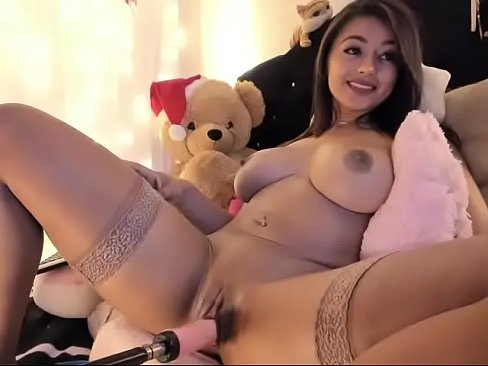 Busty latina girl destroying pussy with dildo fucking machine