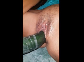 College latina chick selfshot masturbation with cucumber