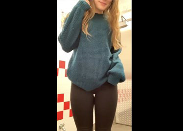 College blonde flashing tits and pussy on public bathroom <!-- width=