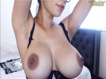 Camgirl teases with big boobs on Chaturbate cam <!-- width=