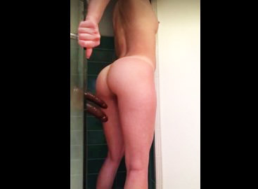 Double mounted dildo on shower <!-- width=
