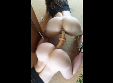 Boyfriend filming his girl fucks a mirror dildo