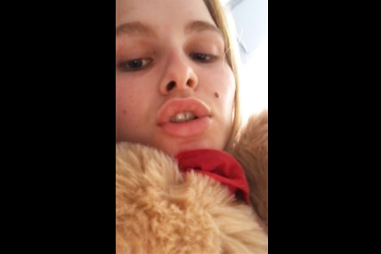 Blonde teen selfshot plays with pussy and teddy bear <!-- width=