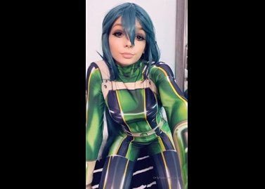 Cosplay girl as Froppy hot masturbates <!-- width=