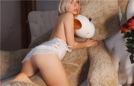 Sexy blonde in white lingerie teases on Teddy Bear <!-- width=