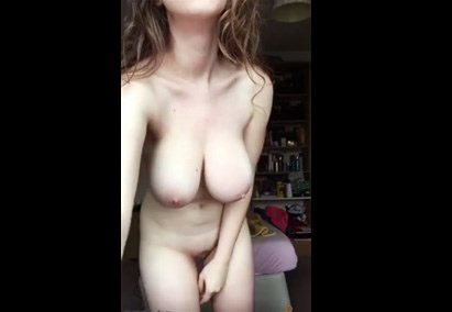 Skinny naked girl practices yoga <!-- width=
