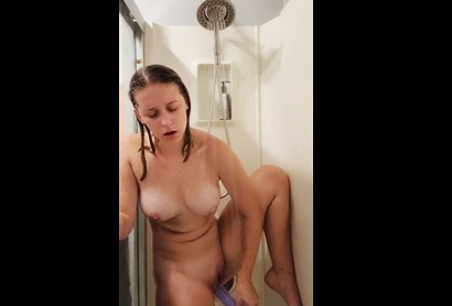 Blonde hard dildoing in the shower <!-- width=