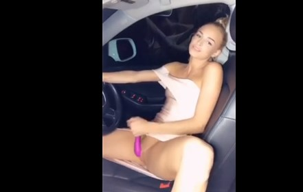 Sexy blonde masturbates with vibrating toy in the car <!-- width=