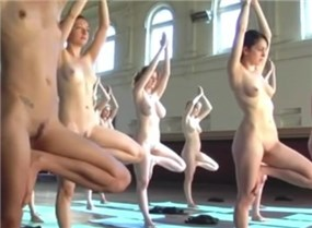 Room full of nude yoga hotties