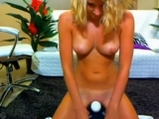 Busty blonde and her solo with hitachi <!-- width=