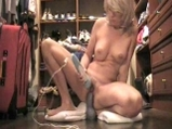 Blond milf masturbating with a dildo <!-- width=