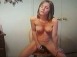 Blonde girl Janeen riding on dildo  <!-- width=