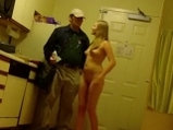 Blonde girl posing and undress with pizza boy <!-- width=