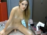 Beautiful girl rides on dildo <!-- width=