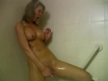 Shower masturbation with orgasm