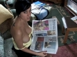 Busty Brit reads paper and chats whilst her top is open! <!-- width=