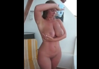 British babe lotions her Big ass and titties  <!-- width=