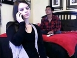 Teen show pussy and tits on webcam in front of her boyfriend