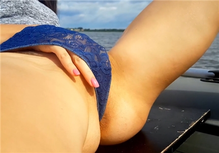 Amateur blonde milf masturbating on boat
