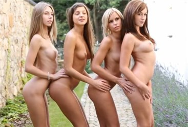 Four naked girls teasing <!-- width=