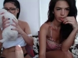 Two young busty girls with dildos