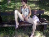 Woman masturbate in public place