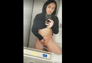 Girl selfshot pussy rubs in the toilet on the train  <!-- width=